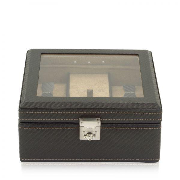 Uhrenkasten mit Sichtfenster LED Carbon - Dunkelbraun