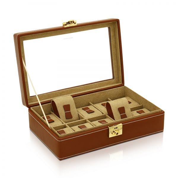 Uhrenbox mit Sichtfenster Cordoba 10 - Dunkelbraun
