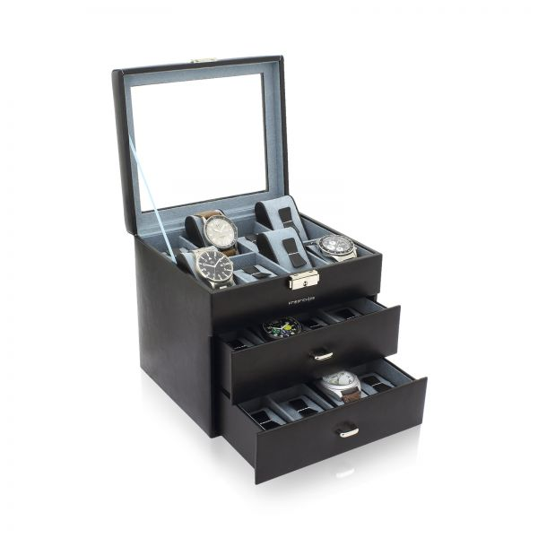 Uhrenbox mit Sichtfenster Bond 24 - Schwarz