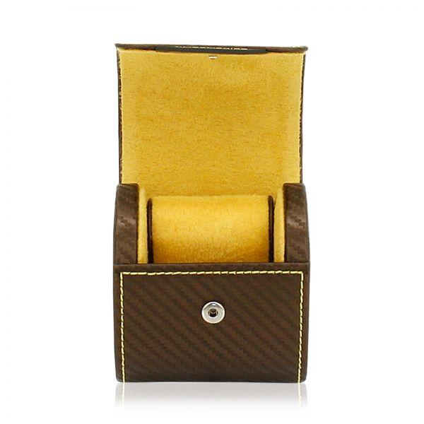 Uhrenbox Carbon - Braun/Gelb 1