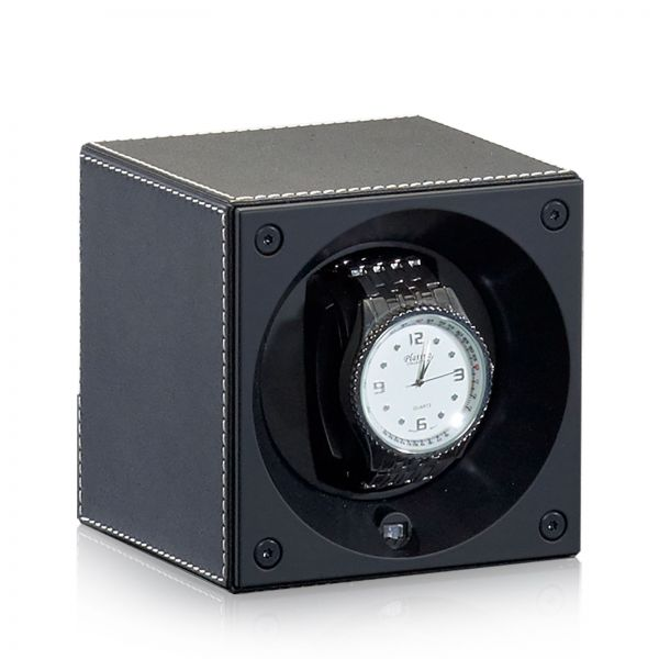 Watch Winder Leather Masterbox - Black / White Seams