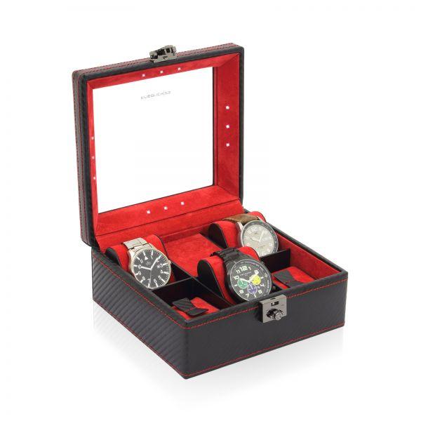 Uhrenbox mit Sichtfenster LED - Schwarz