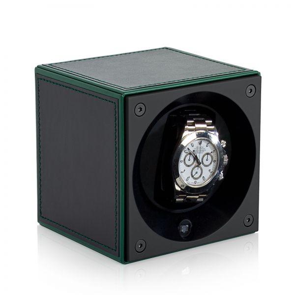Uhrenbeweger Leder Masterbox - Grüne Kanten / Grüne Ziernaht