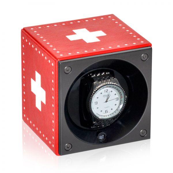 Uhrenbeweger Kalbsleder Masterbox - Rot / Weißes Kreuz