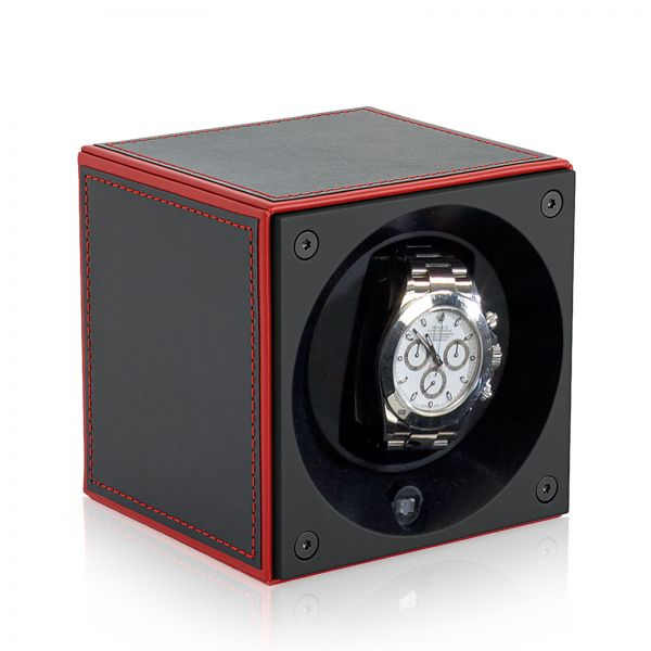 Watch Winder Leather Masterbox - Red Edges / Red Stitching
