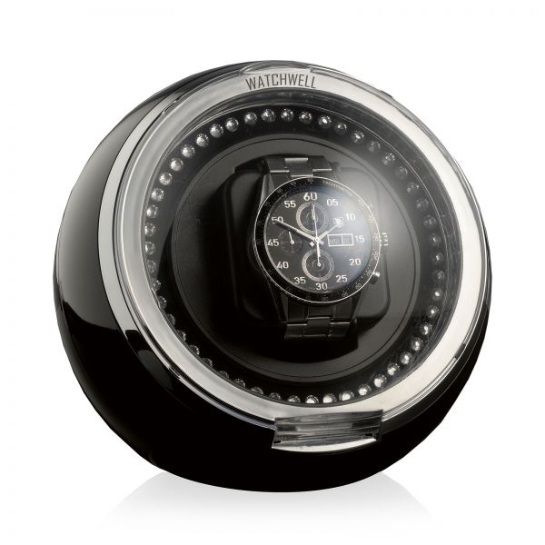 Watch Winder Globe Shine - Black / Blue LED