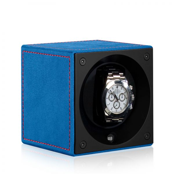 Watch Winder Velour Passion MasterBox - Blue/Red Seam