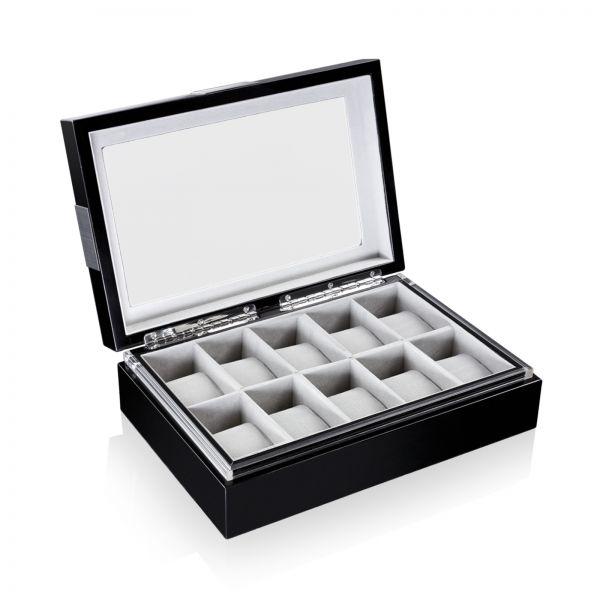 Uhrenbox mit Sichtfenster Executive 10 - Schwarz