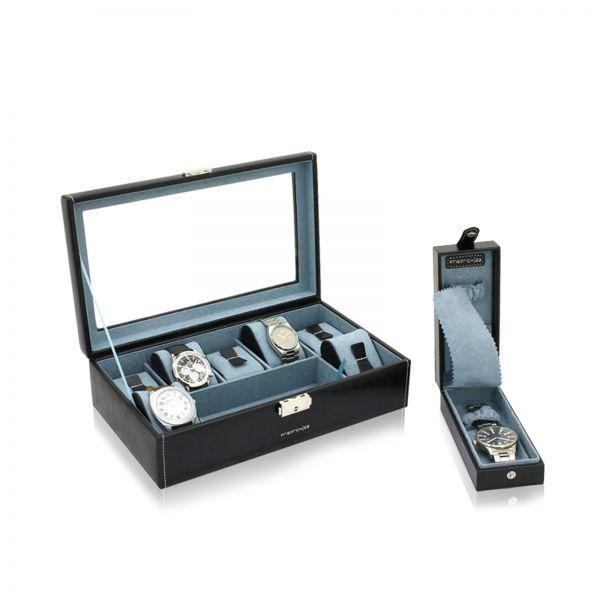 Uhrenbox mit Sichtfenster Bond 7 - Schwarz
