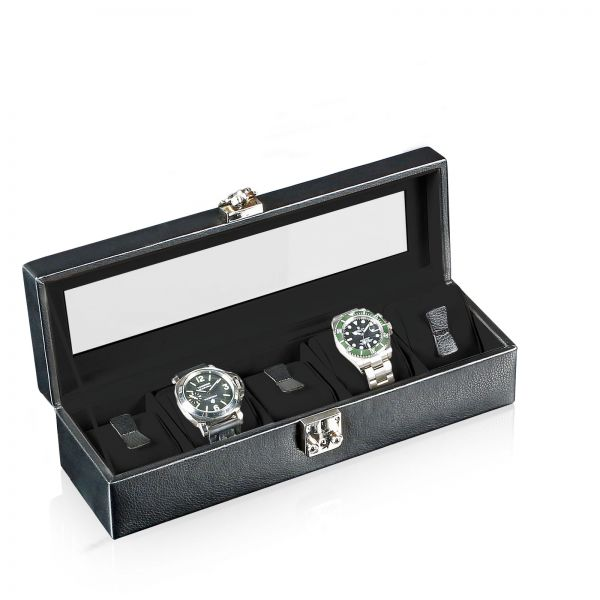 Uhrenbox mit Sichtfenster Solid 5 - Schwarz