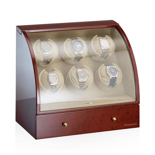 Watch Winder Basel 6 LCD - Burl Wood