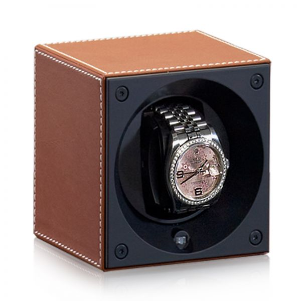 Watch Winder Leather Masterbox - Light Brown / White Seams