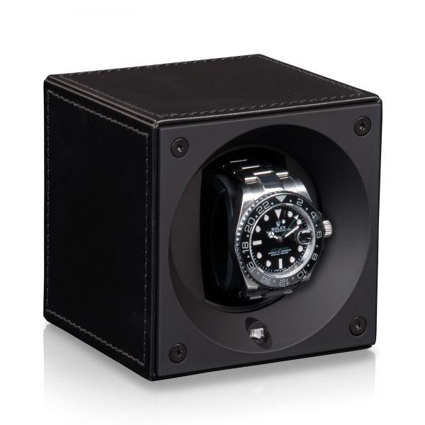 Uhrenbeweger Leder - Schwarz / Schwarze Nähte