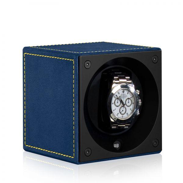 Uhrenbeweger Velour Windsor - Blau/Gelbe Ziernaht