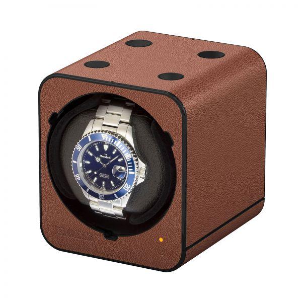 Uhrenbeweger Boxy Fancy Brick Braun Leder