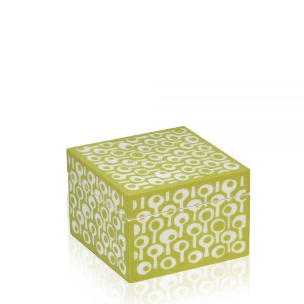 Schmuck- & Uhrenbox Groovy S - Limette/Weiß
