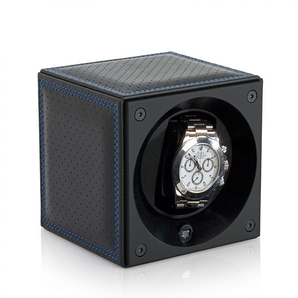 Watch Winder Leather Masterbox - Perforated / Blue Stitching