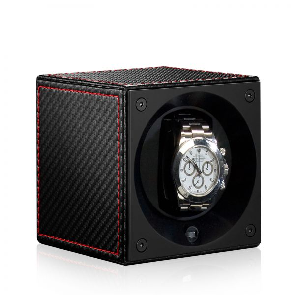 Remontoir Montre Automatique Masterbox Cuir - Carbone / Seam Rouge
