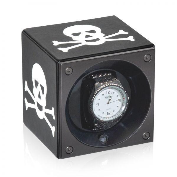 Uhrenbeweger Kalbsleder - Schwarz / Weißer Totenkopf