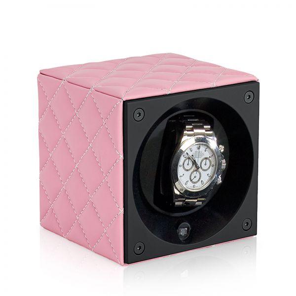 Remontoir Montre Automatique Masterbox Cuir - Diamant Rose / Coutures Blanches