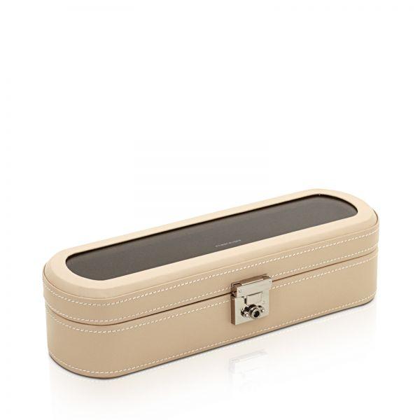 Uhrenbox mit Sichtfenster Cordoba 5 - Beige