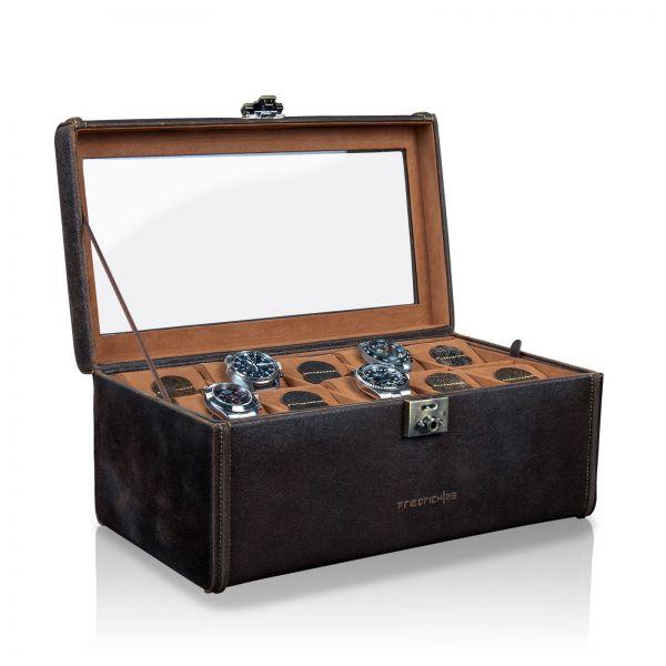 Uhrenbox mit Sichtfenster Cubano XXL - Braun