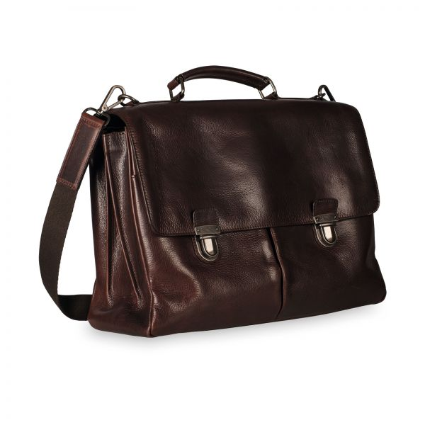 Roma Briefcase 3 Compartments - Brown