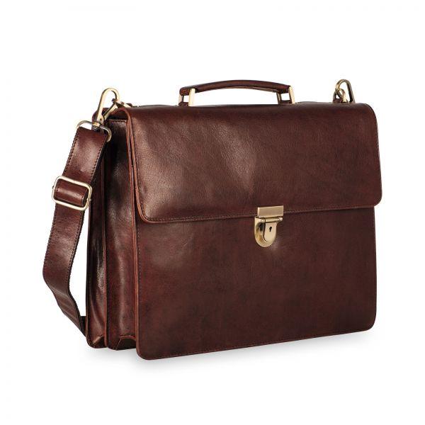 Cambridge Briefcase 2 Compartments - Red Brown