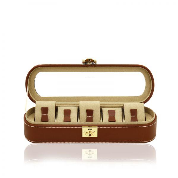 Uhrenbox mit Sichtfenster Cordoba 5 - Braun