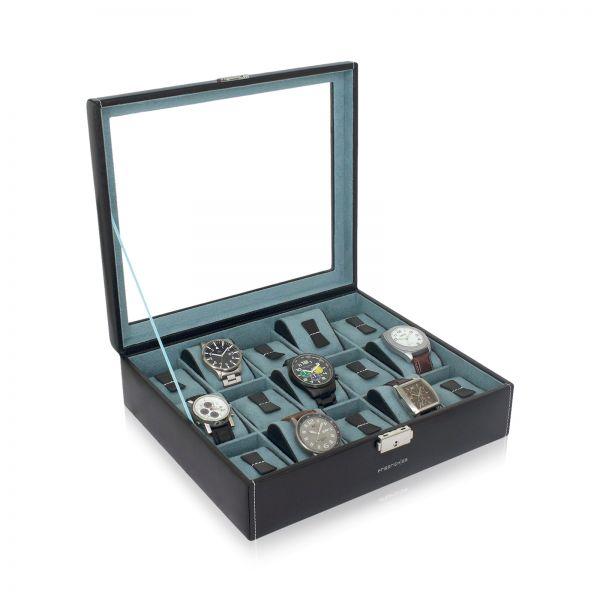 Uhrenbox mit Sichtfenster Bond 15 - Schwarz