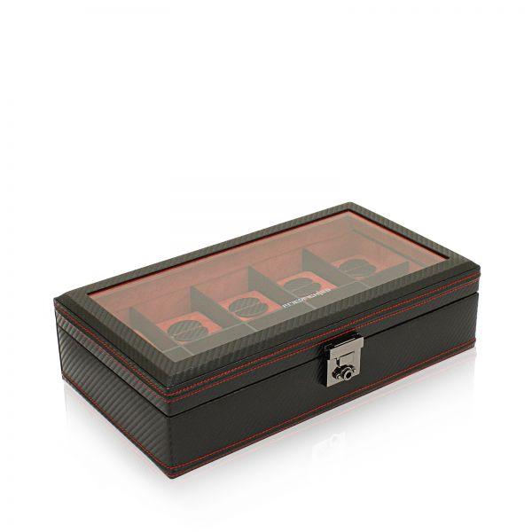 Uhrenbox mit Sichtfenster Carbon 10 - Schwarz